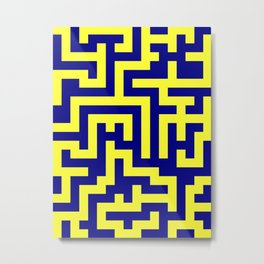 Electric Yellow and Navy Blue Labyrinth Metal Print