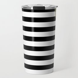 Black and White Stripes and Gold Crown 2 Travel Mug