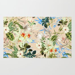 Hibiscus, Orchid, Rosebuds - White Blue Green Rug