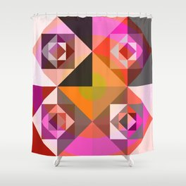 Pink Abstract Flowers Campe Shower Curtain