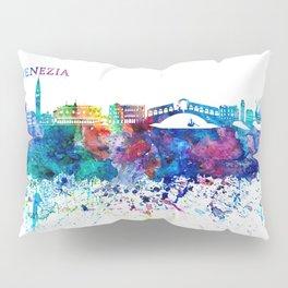Venezia Italy Skyline Silhouette Impressionistic Blast Pillow Sham