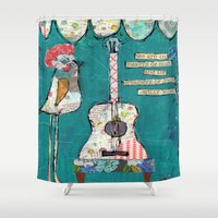 willy wonka Shower Curtains featuring Bird with guitar, willy wonka quote, mixed media, turquoise, whimsical by sunshine girl designs