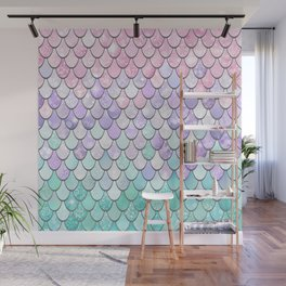Cute Pretty Fun Girly Pattern, Ombre Pastel Pink, Purple, Teal Wall Mural