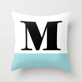 Monogram Letter M-Pantone-Limpet Shell Throw Pillow