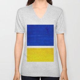 Colorful Bright Minimalist Rothko Blue Yellow Midcentury Modern Art Vintage Pop Art Unisex V-Neck