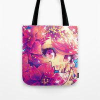 barachan Tote Bags featuring peace joy love by barachan