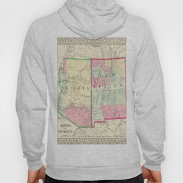 New Mexico and Arizona Map print from 1867 Hoody