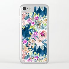 NAVY SO LUSCIOUS Colorful Watercolor Floral Print Clear iPhone Case