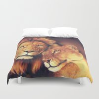 lions Duvet Covers featuring Lions Soulmates by Moody Muse