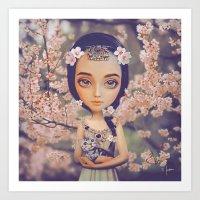Cherry Blossom Princess Art Print