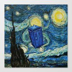 Tardis Dr. Who Starry Night Canvas Print