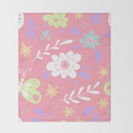 Pink Pattern with Flowers and butterflies Throw Blanket
