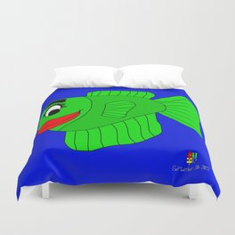 Friendly Green Fish Duvet Cover