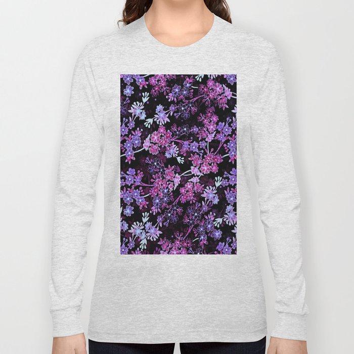Pink & Purple Floral Pattern Long Sleeve T-shirt