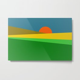 Sunset on the Field Metal Print