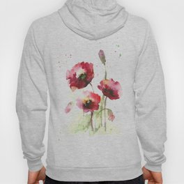 Watercolor flowers of poppy Hoody
