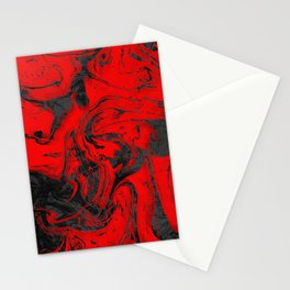 Black & Red Marble I Stationery Cards