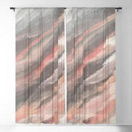 Moving Mountains: an abstract mixed media piece in contrasting pinks, purples, blues, and whites Sheer Curtain