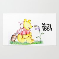 pooh Area & Throw Rugs featuring Winnie the Pooh & Piglet by Lozza.