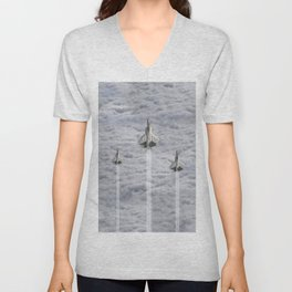 F22 Stealth Fighters Climbing in Clouds Unisex V-Neck