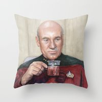 picard Throw Pillows featuring Captain Picard Earl Grey Tea | Star Trek Painting by Olechka
