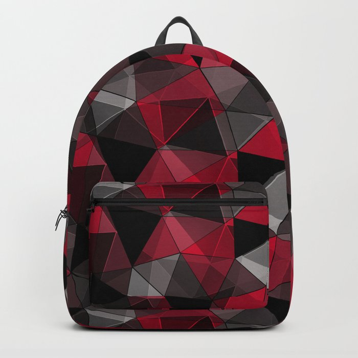 Abstract polygonal pattern.Red, black, grey triangles. Rucksack