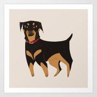 rottweiler Art Prints featuring Rottweiler by Reimena Ashel Yee