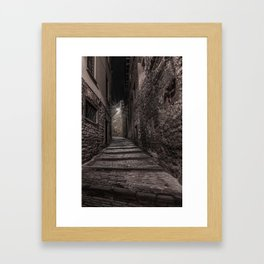 Medieval street that goes up narrow towards Bergamo Alta in the night Framed Art Print