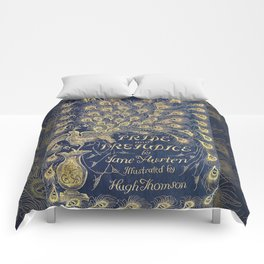 Pride and Prejudice by Jane Austen Vintage Peacock Book Cover Comforters