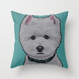 """Painting of a West Highland White Terrier """"Westie"""" on a sea breeze background Throw Pillow"""