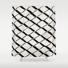 Modern Diamond Lattice Black on Light Gray Shower Curtain