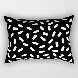 Bingo - black and white sprinkle retro modern pattern print monochromatic trendy hipster 80s style Rectangular Pillow