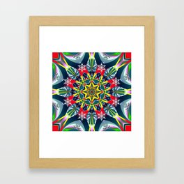 Decorative Winter Star and Snowflakes Framed Art Print