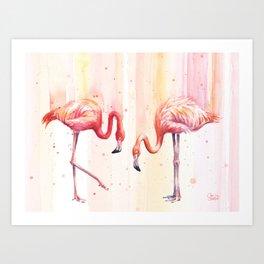 Two Flamingos Watercolor Tropical Birds Animals Art Print