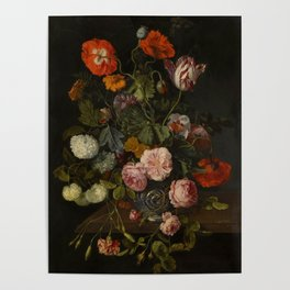 """Cornelis Kick """"A still life with parrot tulips, poppies, roses, snow balls, and other flowers"""" Poster"""