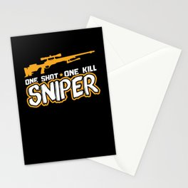 Sniper One Shot, One Kill | Gun Lover Stationery Cards