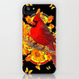 BUTTERFLIES  RED CARDINAL SUNFLOWERS BLACK ART iPhone Case