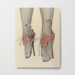 Good girl knows what to wear, sexy fetish ballet dancer heels, gold chain and cuffs, erotic artwork Metal Print
