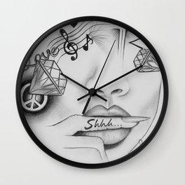 Rihanna - Shine bright like a diamond 'Shhh..' lips - Ashley Rose Wall Clock