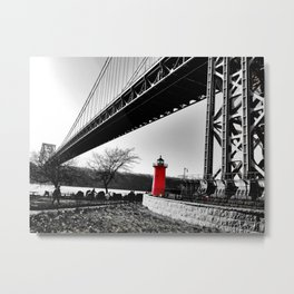 The Little Red Lighthouse - George Washington Bridge NYC Metal Print
