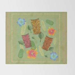 Bamboo Tiki Room Pattern Throw Blanket