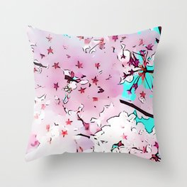Cherry Blossoms I Throw Pillow