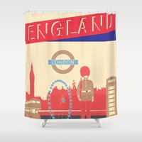 london Shower Curtains featuring LONDON by famenxt