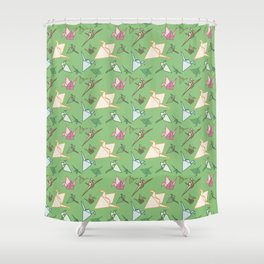 Paper cranes playful origami pattern Shower Curtain
