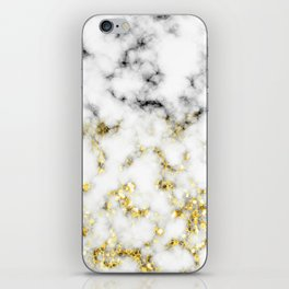 Black and white marble gold sparkle flakes iPhone Skin