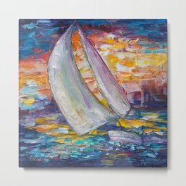 Sailing Boat by Lena Owens Metal Print