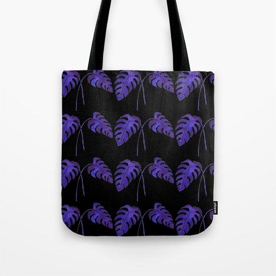 Indigo Monstera Leaf Watercolor on Black Tote Bag