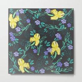 Yellow iris and periwinkle watercolour & ink pattern in black Metal Print