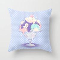 snorlax Throw Pillows featuring Sweet Tooth Sundae by Miski