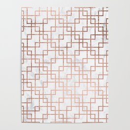 Modern rose gold geometric abstract square pattern on white marble Poster